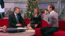 Sooty and Sweep with Bill and Sian and presenter, Richard Cadell
