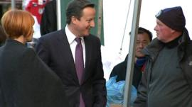 Mary Portas and David Cameron meet market traders