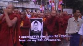 An image of monks protesting from a film shown at the festival