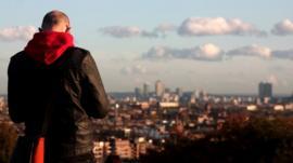 Man overlooking London