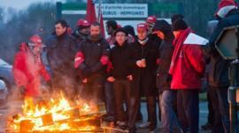 Strikers in Belgium