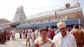 Newly-weds at Tirupati Temple