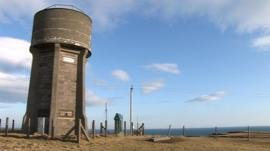 The water tower sits on Lewis' Atlantic coast