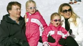 Prince Johan Friso with his wife Mabel and their daughters Countesses Zaria and Luana in Lech, Austria, in 2011