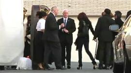 Relatives of Whitney Houston arrive at funeral home in Newark