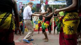 Prince Harry dancing with Chantol Dorner in Jamaica