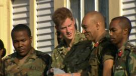 Prince Harry with members of the Jamaica Defence Force