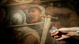 Experts examine fresco