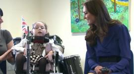 The Duchess of Cambridge taking part in a music making session
