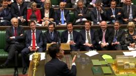Labour leader Ed Miliband puts a question on income tax to the cabinet