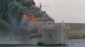 RFA Sir Galahad on fire after Argentine air raid, June 1982