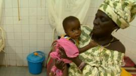 Baby in hospital in Niger
