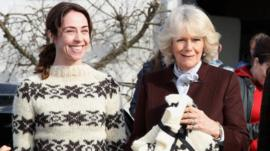 The Killing Actress Sofie Grabol presents Camilla, Duchess of Cornwall with a jumper
