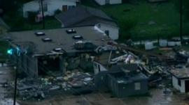 Storm damage to buildings in Oklahoma