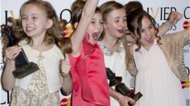 Best Actress in a Musical winners, Sophia Kiely, Eleanor Worthington Cox, Kerry Ingram and Cleo Demetriou of Matilda The Musical