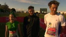 Marathon runners (from left to right) Jo Stocks, Will Young, James Cracknell