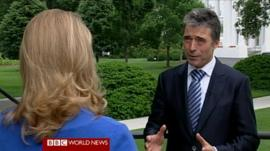 Nato Secretary-General Anders Fogh Rasmussen speaks to the BBC's Katty Kay outside the White House 9 May 2012