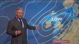 Prince Charles presents the weather