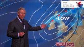 Prince Charles presents the weather forecast on BBC Reporting Scotland