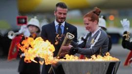 David Beckham lights Olympic torch