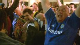 Chelsea fans celebrate Champions League win