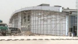 Mazar-e Sharif airport exterior with scaffolding