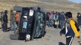 Protesters in Espinar province, near Cusco