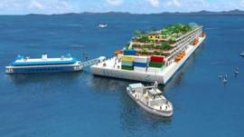 Rendering of Blueseed boat accommodation