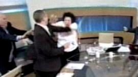 Liana Kanelli is hit on live television