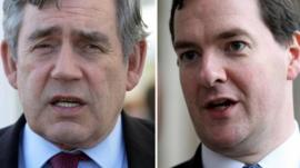 Former Prime Minister Gordon Brown and Chancellor George Osborne
