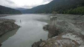 Partially demolished dam in Washington state