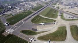 Runways at Heathrow airport in west London