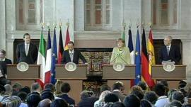 Mario Monti played host to the leaders of Germany, France, and Spain.