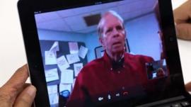 Older man shown on Skype call