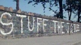 'Stuff the Jubilee' sign written on wall in Northern Ireland