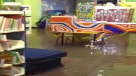 Flooded classroom in Langley First School