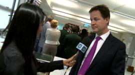Nick Clegg speaks to Nel Hedayat