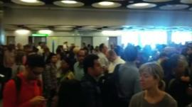 Queues purported to be at Heathrow immigration 12 July 2012
