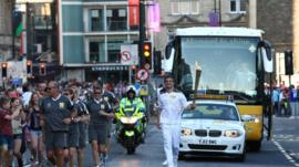 Olympic torch in Cardiff