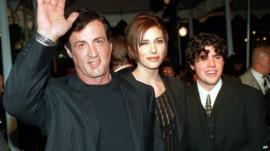 Sylvester Stallone with his girlfriend Jennifer Flavin and his son Sage Moonblood