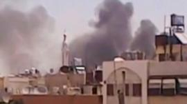 Unverified pictures purport to show smoke rising from Damascus, Syria