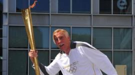 Sir Bruce Forsyth with Olympic Torch