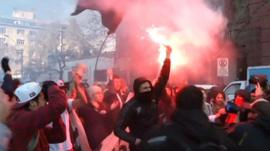 Students protesting in Santiago
