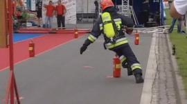 Fireman runs around track