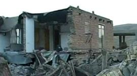 House destroyed by earthquake in Iran