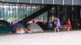 Protesters camping out below HSBC's Hong Kong headquarters