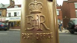 Gold post box in Lymington