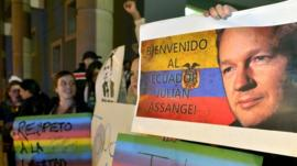 Rally in support of Julian Assange outside the British embassy in Quito