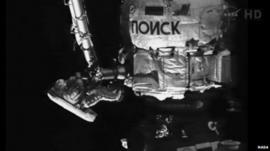 Russian cosmonaut Yuri Malenchenko outside the International Space Station