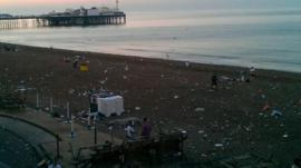 Rubbish on Brighton beach
